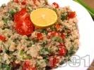 Рецепта Свежа вкусна салата с киноа, риба тон, чери домати и магданоз